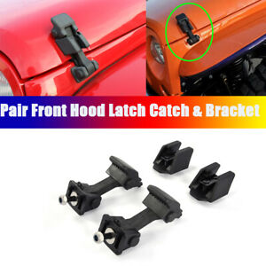 For Jeep Wrangler TJ 1997-2006 Left Right Pair Front Hood Latch Catch & Bracket