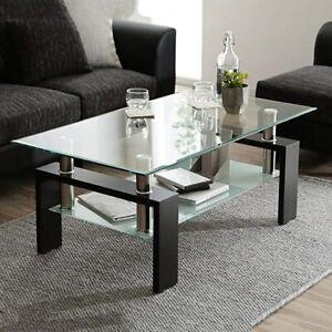 Tempered Glass Chrome Living Room Coffee Table, Black Modern Rectangle Tea Table