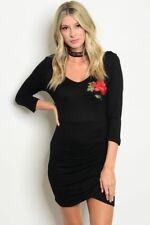 Women Black Mini Dress Rose Kim Kardashian Slim Fit Bodycon Casual Chic Fall
