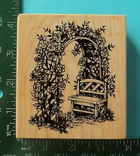 PSX - K-1792  Rose Arbor Trellis Wood Bench Rubber Stamp Flowers Garden