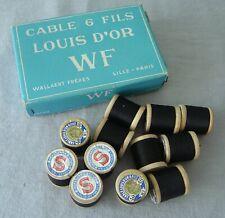 12 anciennes bobines bois Fil Noir CABLE 6 fils LOUIS D'OR W F wooden SPOOLS