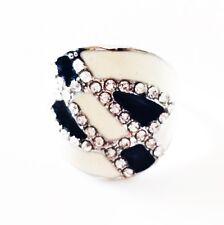 USA RING Rhinestone Crystal Fashion Gemstone Silver Black White SIZE-8 08