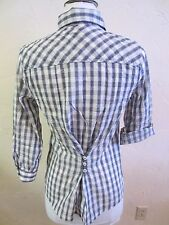 Lucky Brand Women's 3/4 Sleeve Mixed Gingham Plaid Top Blue/Cream Size Small
