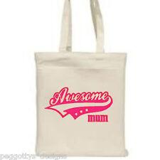 Cotton tote bag awsome mum gift white shopper long handle