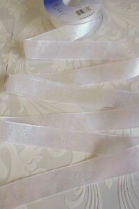 Berisfords DAZZLE sparkly ribbon 3 metres WHITE shade no1 - 25mm / 1 inch wide