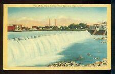 VIEW OF THE DAM Merimac River LAWRENCE MASSACHUSETTS Vintage 1952 Postcard
