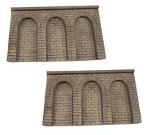 2 Stk. Mauerplatte mit 3 Rundbögen H0/TT - grau patiniert
