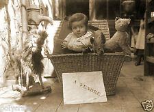 """Tirage repro photo Ancienne -  Portrait enfant """"A vendre"""" Jeux jouets Humour"""