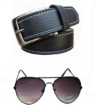 Men's Formal Black Belt two side stitching and Sunglass Combo Free Shipping