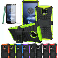 For Moto Z/Z Force Droid Shockproof Hybrid Kickstand Hard Protective Case Cover