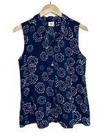 Cabi #5215 Dandelion Wish Sleeveless Button-Up Top Peplum Back Size Medium