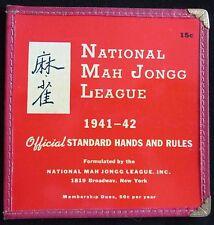 Vtg, 1941-42 NATIONAL MAH JONGG Mahjong LEAGUE RULES GAME CARD, NMJL
