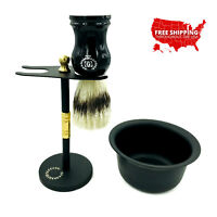 DELUXE STAINLESS STEEL SHAVING STAND FOR SAFETY RAZOR & SHAVING BRUSH, CUP BLACK