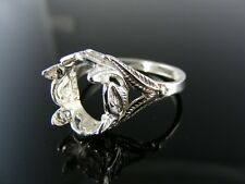5760  RING SETTING STERLING SILVER, SIZE 8.5, 12MM ROUND STONE