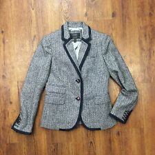 J. Crew Women's Sz 2 Schoolboy Herringbone Wool Blazer Tweed Suit Jacket NEW