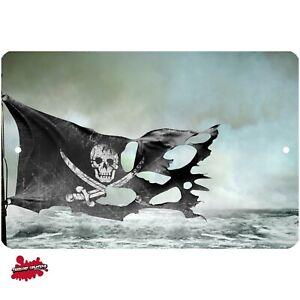 Pirate's Jolly Roger metal sign - Wall Decor - Aluminum - Door - Art - Caribbean
