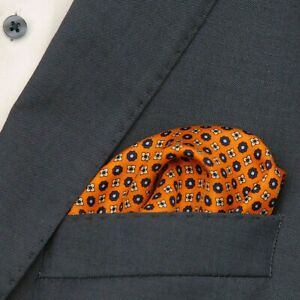 "Pocket square ""Flower"" Orange, Size 33x33 cm"