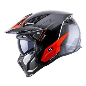 Black Red Gemini Modular Convertible Gloss Full Face Safety Helmet ECE Standard