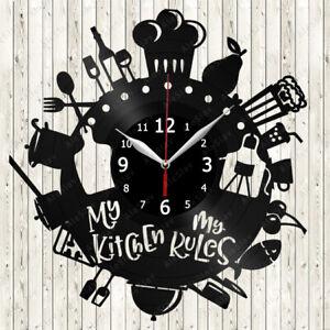 Kitchen Vinyl Record Wall Clock Decor Handmade 2355