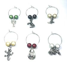 Set of 6 Handmade Wild West Wine Glass Charms - FREE P&P