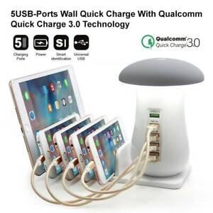 5 Port USB Fast Charging Station Dock Stand Mushroom Desktop Multi-Charger Hub