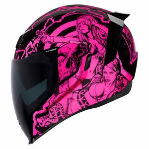 NEW ICON Airflite Helmet -Pleasuredome Redux - PINK motorcycle playboy ALL SIZE