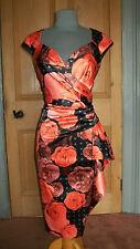 GORGEOUS DEBUT BLACK/TANGERINE ROSE PRINT SATIN EVENING DRESS, SIZE 18