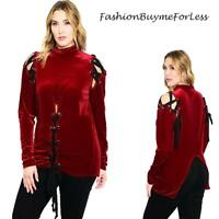 PLUS Gothic Red Velvet Renaissance Medieval Pirate Lace Up Shirt Top 1X 2X 3X
