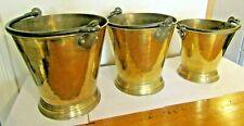 More details for antique set graduated brass pail buckets cottage kitchen farmhouse joblot fire