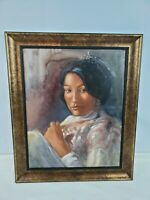 """Wall Art Canvas Handpainted Potrait of a Graceful Lady Signed Hunold84 20"""" X 16"""""""