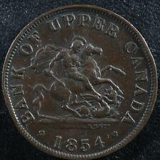 PC-5C1 Die crack Halfpenny 1854 token Province of Upper Canada Bank Breton 720