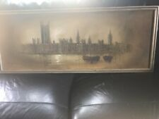 John Bampfield Signed and Framed 20th Century Oil, Houses of Parliament, London