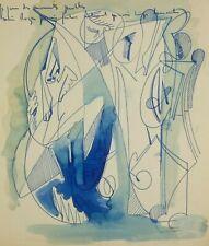 Dessin Ancien Original Signé - Abstrait, Abstraction, Aquarelle, Encre