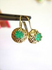 1CT Colombian Emerald 14K Yellow Gold Patterned Russian Style  Leverback Earring