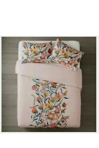 NIP OPALHOUSE Placed Pink Floral Band Full/Queen Duvet Cover & Shams 3pc
