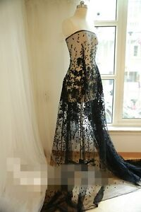 Black Dot Floral lace fabric Luxury Sequins French Lace Wedding Dress Lace 55''