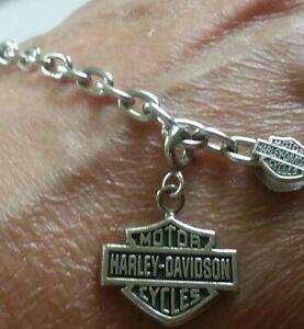 "Harley Davidson Sterling Silver Starter Charm Bracelet & B&S Charm 7.5"""