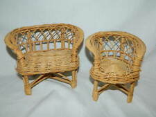 wicker dollhouse Barbie doll love seat and chair patio furniture