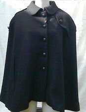 THOMAS BURBERRY 🇬🇧 BLACK WOOL TRENCH CAPE...fits UK12...labelled XL..New