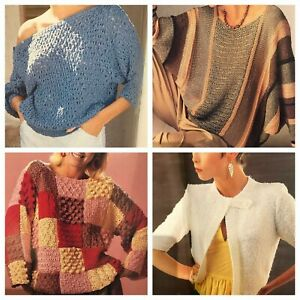 1980s Boucle Batwing Patchwork Cotton Linen Summer Knitting Pattern Womans Day