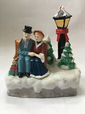 """1990 House of Lloyd Lighted Christmas Music Box Seated Couple """"Memory from Cats"""""""