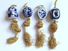 Lot of  4 Ceramic Weights for Japanese Hanging Scroll VTG. NOS /White & Blue
