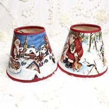 """Santa Woodland Nature Christmas Xmas Lamp Shade Lampshade 4"""" H X  5"""" D  EUC"""