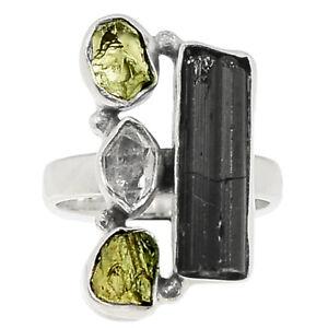 Black Tourmaline Rough & Moldavite 925 Sterling Silver Ring Jewelry s.7 BR86378