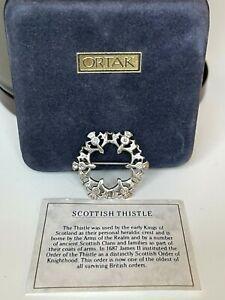 Vintage ORTAK Scotland Celtic STERLING SILVER THISTLE Brooch Pin Original Box