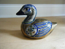 """Vtg Large Ceramic Porcelain Duck w/ Brass Overlay Cobalt Blue White Figurine 9"""""""