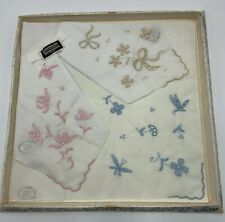 3 Vintage Embroidered Handkerchief Hanky MADEIRA Set