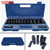 "15pc 1/2"" Inch Deep Impact Socket Tool Set 10-32mm Metric Garage Workshop"