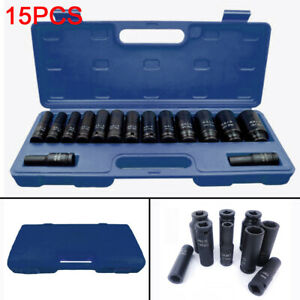 "15pcs Impact Sockets 1/2"" inch Drive Metric Deep Socket Set 10-32mm Garage Tools"
