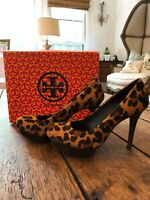 TORY BURCH $350 Camille leopard calf hair platform pumps heels size 8 Woman